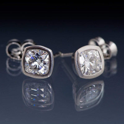 Cushion Cut Moissanite Bezel Stud Earrings - by Nodeform