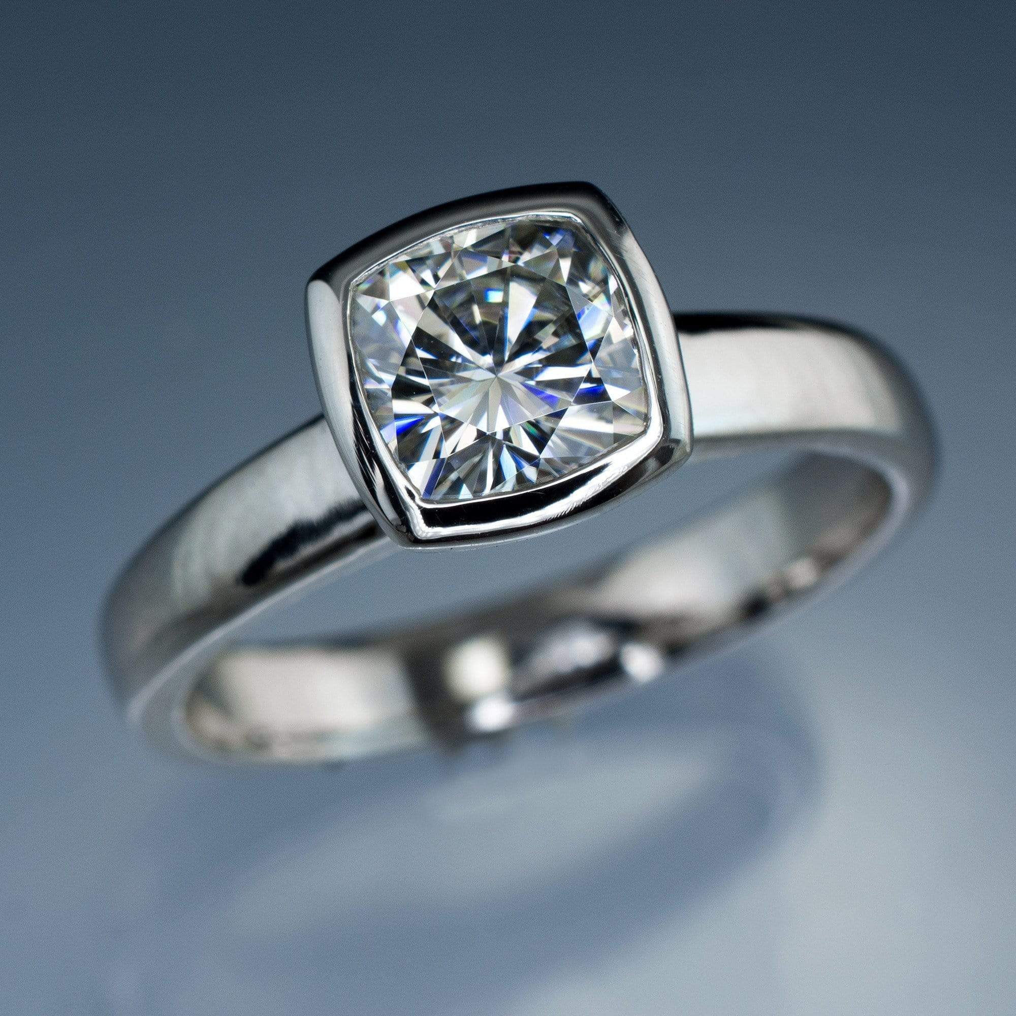 Cushion Moissanite Bezel Set Solitaire Engagement Ring