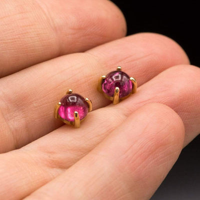 Pink Tourmaline Rubellite Cabochon 14k Yellow Gold Textured Prong Stud Earrings, Ready to Ship