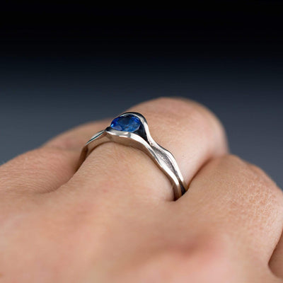 Wave Fair Trade Green / Blue Malawi Sapphire Engagement Ring Bridal Set