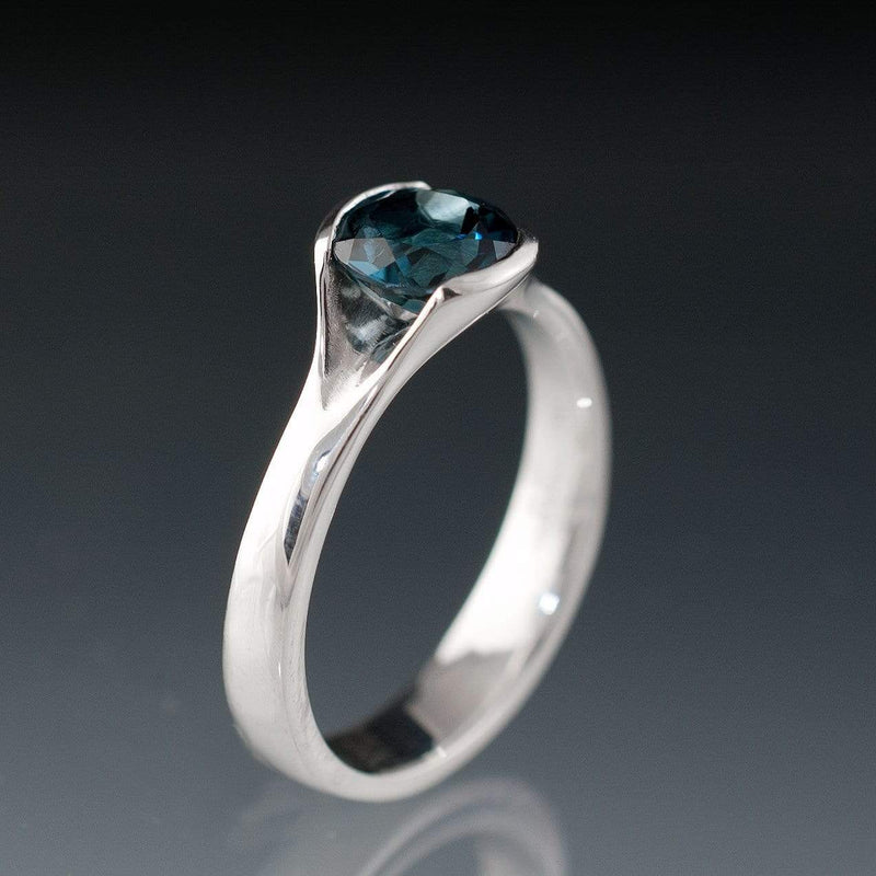 London Blue Topaz Fold Cocktail Statement Ring