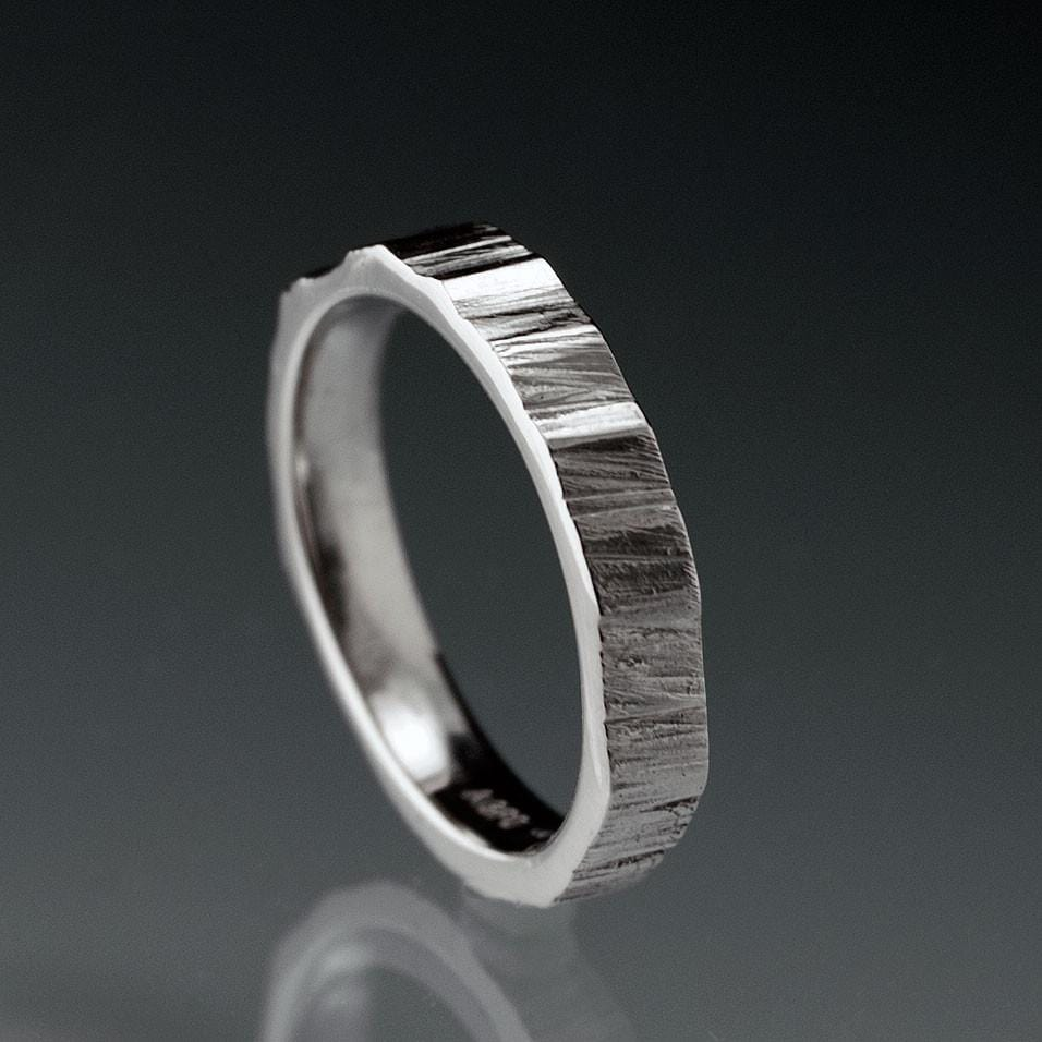 Narrow Saw Cut Texture Wedding Band