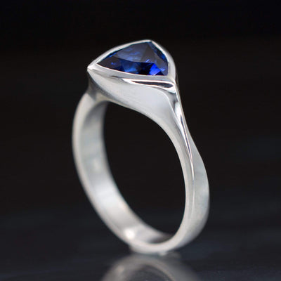 Trillion Lab Created Blue Sapphire Bezel Solitaire Engagement Ring - by Nodeform