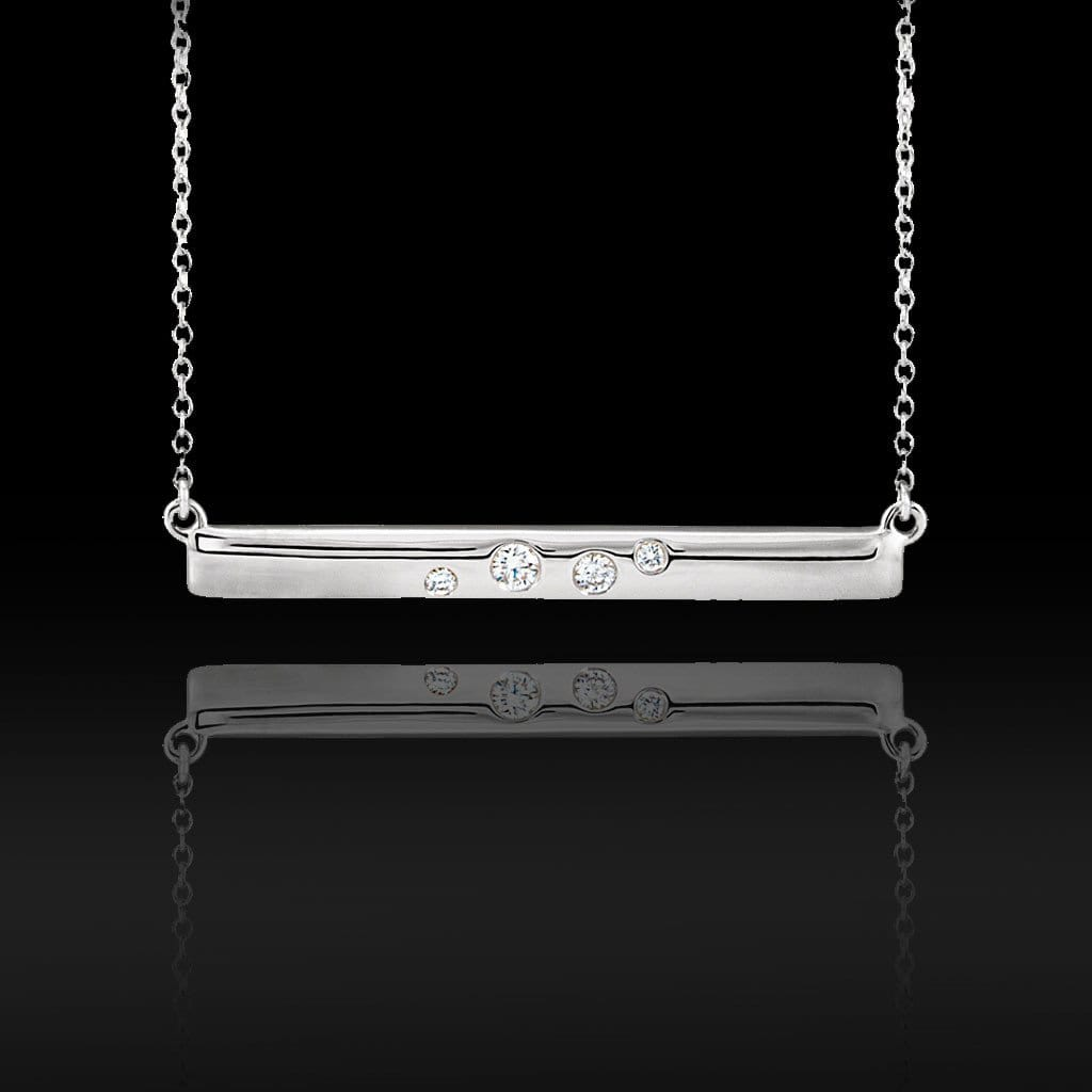 Scattered Flush Set Diamond Horizontal Bar Pendant Necklace in Sterling Silver