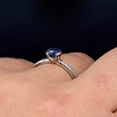 Blue Chatham Sapphire Half Bezel Diamond Pave Engagement Ring - by Nodeform