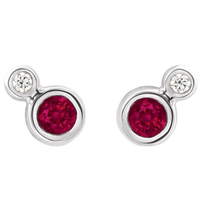 Ruby and Diamond Cluster Bezel Set Stud Earrings