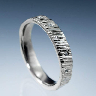 Saw Cut Texture Wedding Band With Diamond Accents, Ready To Ship size 6-8, Silver/Palladium