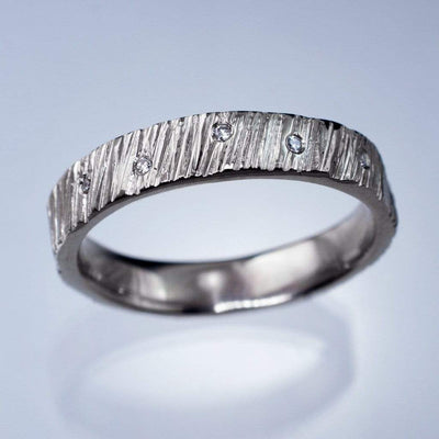 Saw Cut Texture Wedding Band With Diamond Accents, Ready To Ship size 6-8, Silver/Palladium - by Nodeform