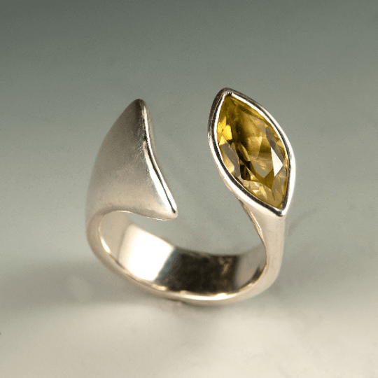 Lemon Citrine Marquise Ring, Sterling Silver Statement Cocktail Ring, ready to ship size 6.5 to 8