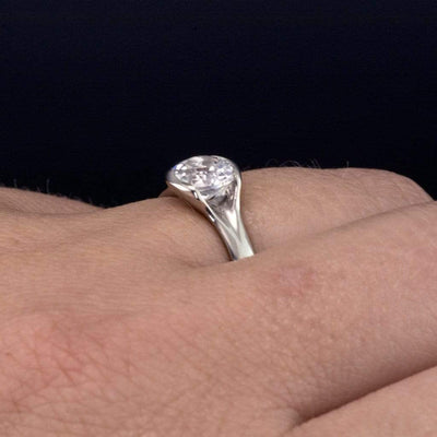 Lab Created Round White Sapphire Fold Solitaire Engagement Ring - by Nodeform