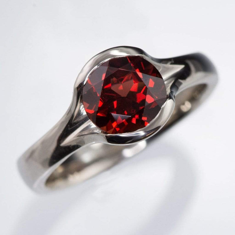 Garnet Fold Solitaire Gemstone Cocktail Ring
