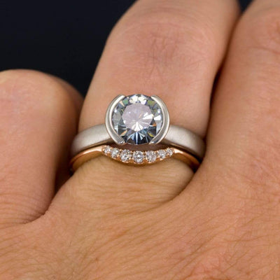 Selene - Graduated Diamond, Moissanite or Sapphire Curved Contoured Stacking Wedding Ring