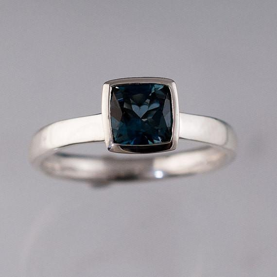 Cushion London Blue Topaz Bezel Set Statement Ring