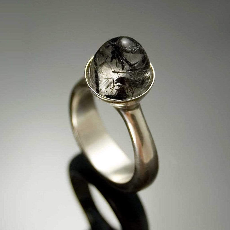 Luna Statement Ring with Bullet Tourmalinated Quartz Cabochon