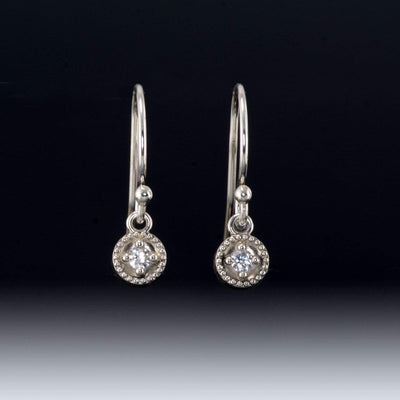 Moissanite Round Milgrain Sterling Silver Dangle Earrings