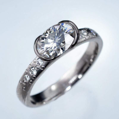 Oval Moissanite Ring Half Bezel Star Dust Engagement Ring - by Nodeform
