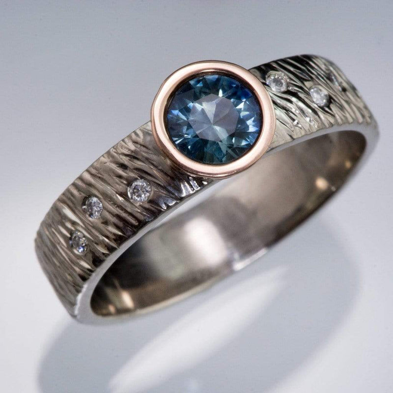 Rasp Textured Engagement Ring with Fair Trade Round Teal Montana Sapphire & Diamonds Accents