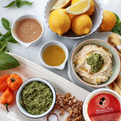 Spicy Hummus with Pesto