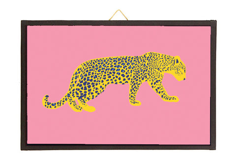 Leopard yellow/blue/pink.