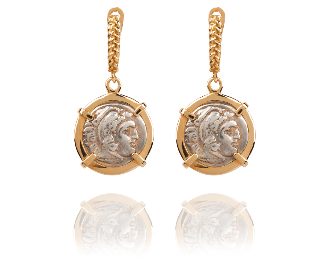 Alexander The Great Coin Drop Earrings | 14 Karat Gold