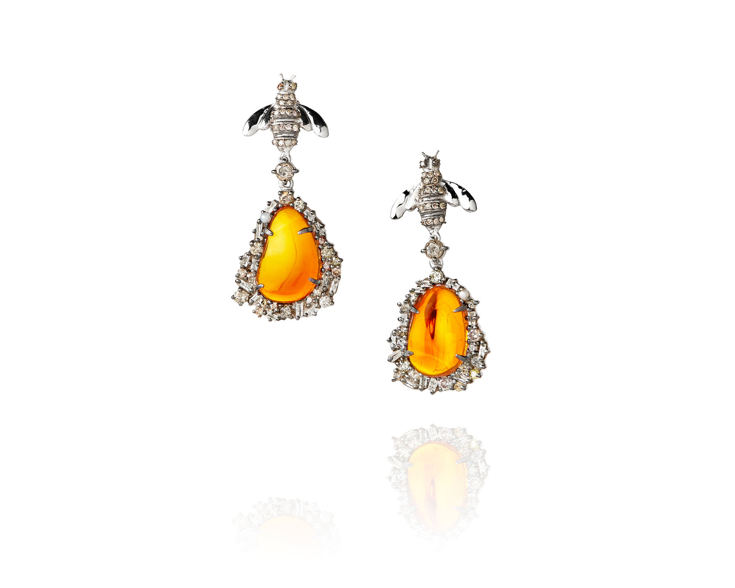 fire opal diamond pearl sterling silver earrings bee honey - D1003