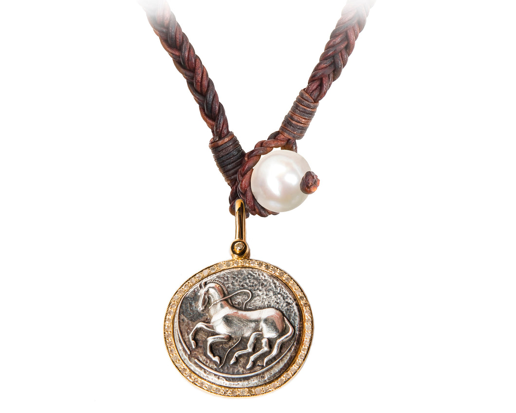 Gold Trojan Coin Necklace with Diamonds