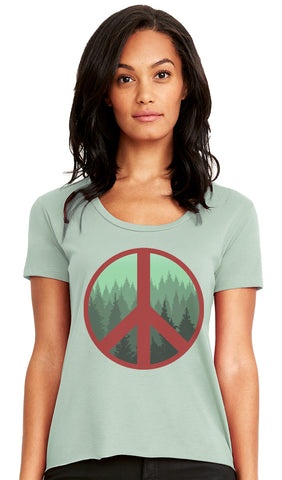 Peace Trees Scoop Neck T-shirt