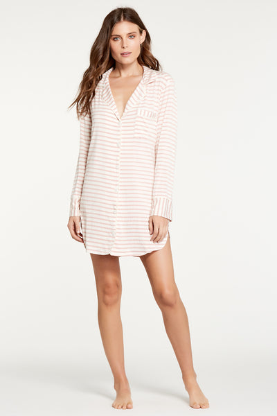 Augustine Shirt Dress- Rose Stripe