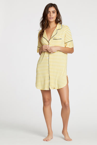 Augustine Short-Sleeve Shirt Dress- Yellow Stripe