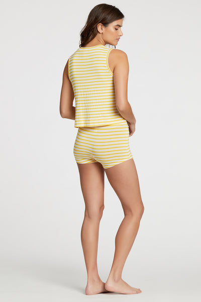 Cropped Jasper Tank - Yellow Stripe
