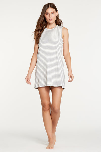 Harper Dress - Heather Grey Stripe