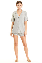 Monaco Short-Sleeve Set - Heather Grey Rib