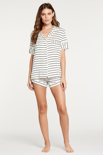 Monaco Short-Sleeve Set - Ivory/Black Stripe