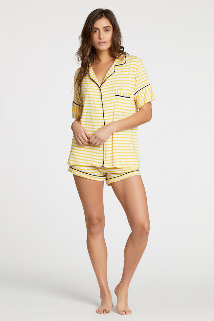 Monaco Short-Sleeve Set - Yellow Stripe