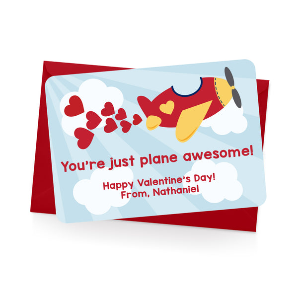 Airplane Personalized Valentine's Day Cards