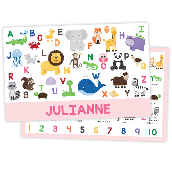 Personalized Kids Placemat - Animal Alphabet Girl