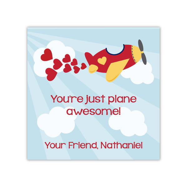 Airplane Personalized Valentine's Day Gift Labels