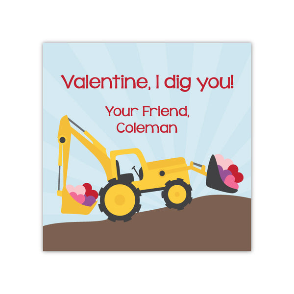 Construction Personalized Valentine's Day Gift Labels