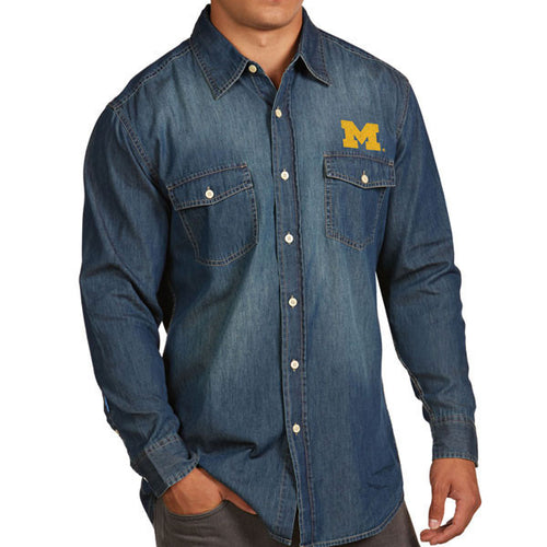 University of Michigan Block M Left Chest Antiqua Long Sleeve Button Down - Chambray