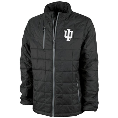 Indiana University Hoosiers Left Chest Embroidered Trident Quilted Jacket - Black/Grey