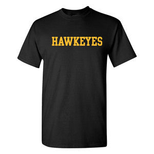 University of Iowa Basic Block Hawkeyes Short Sleeve T Shirt - Black