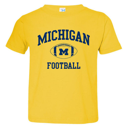 Classic Football Arch University of Michigan Rabbit Skins Fine Jersey Toddler Tee - Yellow