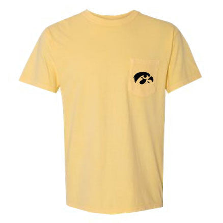 University of Iowa Hawkeye Logo Comfort Colors Pocket Tee - Butter