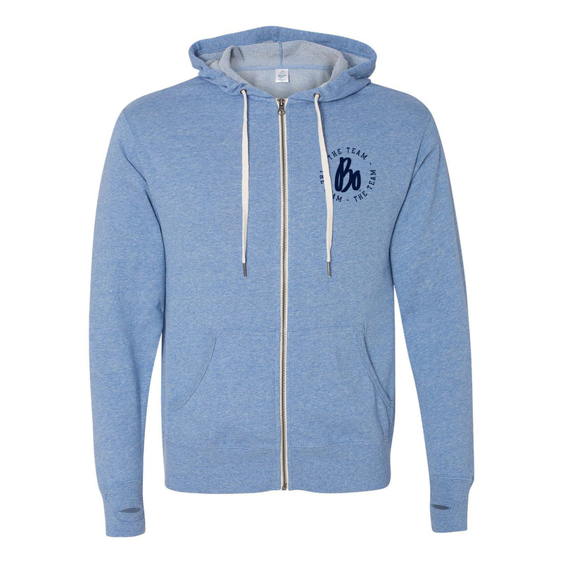 Bo Schembechler The Team The Team The Team Circle Left Chest French Terry Zip Hoodie - Sky Heather