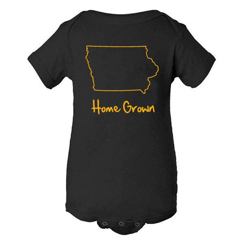 Iowa Outline Home Grown Rabbit Skins Infant Creeper - Black