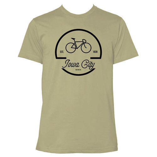 Iowa City Bike Logo Short Sleeve T Shirt - Light Olive