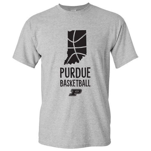 Purdue University Boilermakers Basketball Brush State Short Sleeve T Shirt - Sport Grey