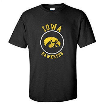 University of Iowa Hawkeyes Distressed Circle Logo Short Sleeve T Shirt - Black