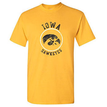University of Iowa Hawkeyes Distressed Circle Logo Short Sleeve T Shirt - Gold