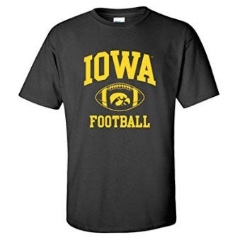 University of Iowa Hawkeyes Classic Football Arch Short Sleeve T Shirt - Black